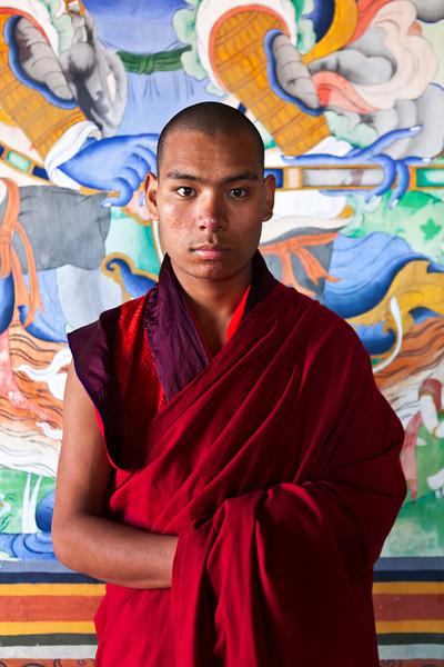 MONGAR DZONG. MONK TSHERING WANGCHUCK (23 YO). EAST BHUTAN.