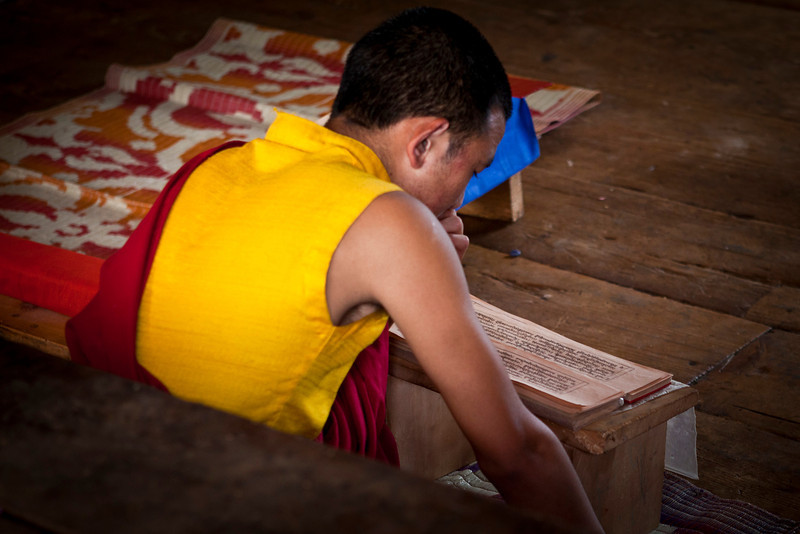 CHIMI LAKHANG. THE TEMPLE OF THE DIVINE MADMAN. PUNAKHA. WESTERN BHUTAN. MONK STUDYING.