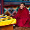 PARO RINPUN DZONG. PARO. YOUNG MONK. BHUTAN.