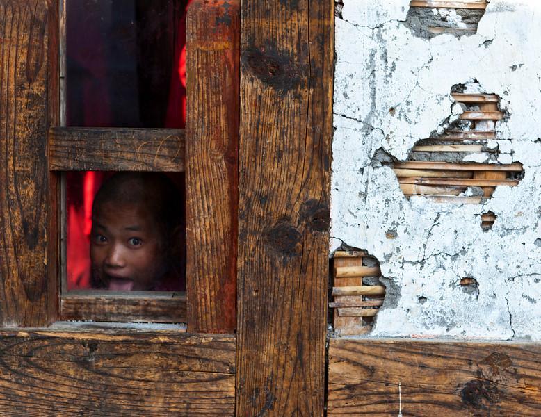 DRAMETSE GOEMBA MONASTERY WITH MONKS SCHOOL. EAST BHUTAN.