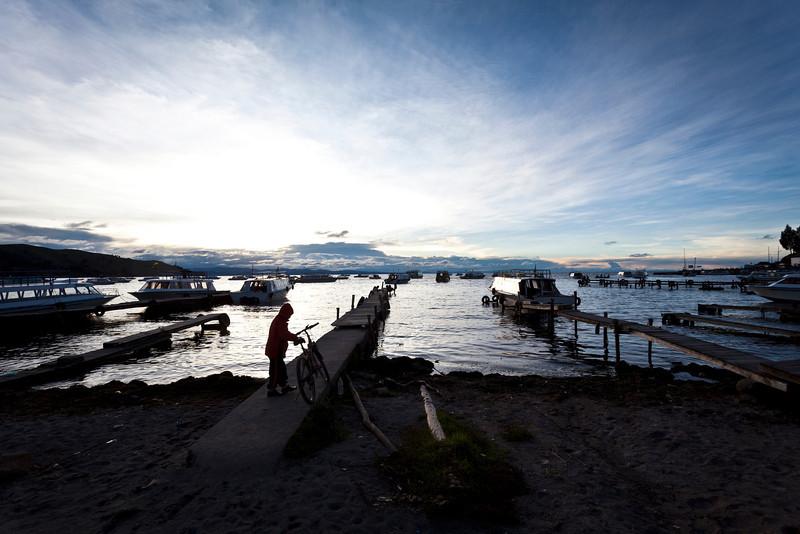 COPACABANA. BEACH. SUNSET AT LAKE TITICACA. BOLIVIA.