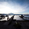 COPACABANA. BEACH. SUNSET AT LAKE TITICACA. BOLIVIA.