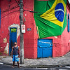 SANTOS. OLD COLONIAL HOUSE WITH BRAZILIAN FLAG.