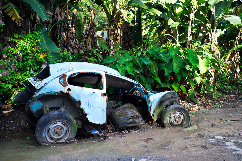 SANTOS. OLD CRUSHED VW BEATLE.