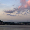 VIEW AT BANDAR SERI BEGAWAN FROM THE BRUNEI RIVER DURING SUNSET. BRUNEI DARUSSALAM.