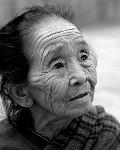 Old lady in Kathmandu, Nepal. Picture shot in colour and converted to B&W.