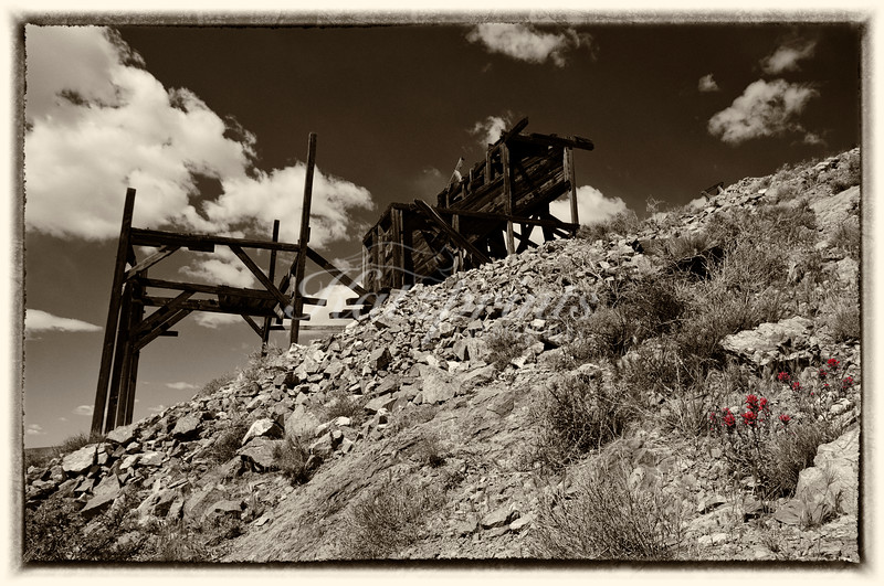 The old Cashier Mine is one of the remnants of Pete Aguereberry's mining operation in Death Valley National Park.