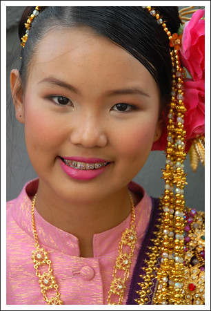 Apsara - Thai girl dressed as an apsara (angel) at a buddhist function in Bangkok, Thailand. South East Asia
