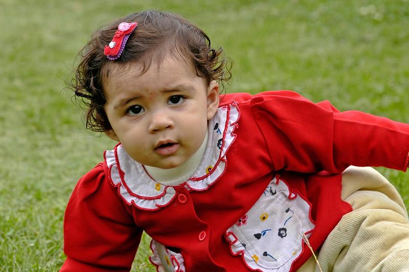 Child playing in the grass of the Moghul Gardens, Srinagar, Kashmir, J&K, India
