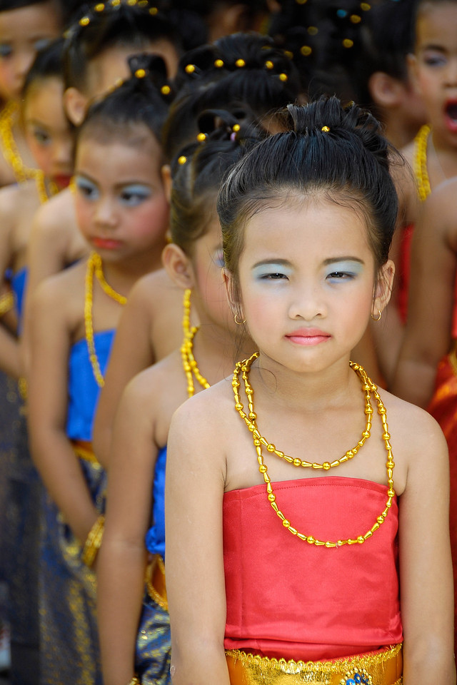 A line of little girls ready for practise in Bangkok, Thailand.