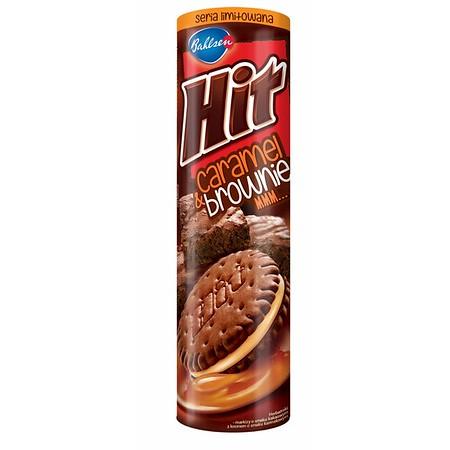 """5901414203658  Sausainiai su karamelės ir šokoladinio pyrago skonio įdaru """" Bahlsen HIT"""", 220 g"""