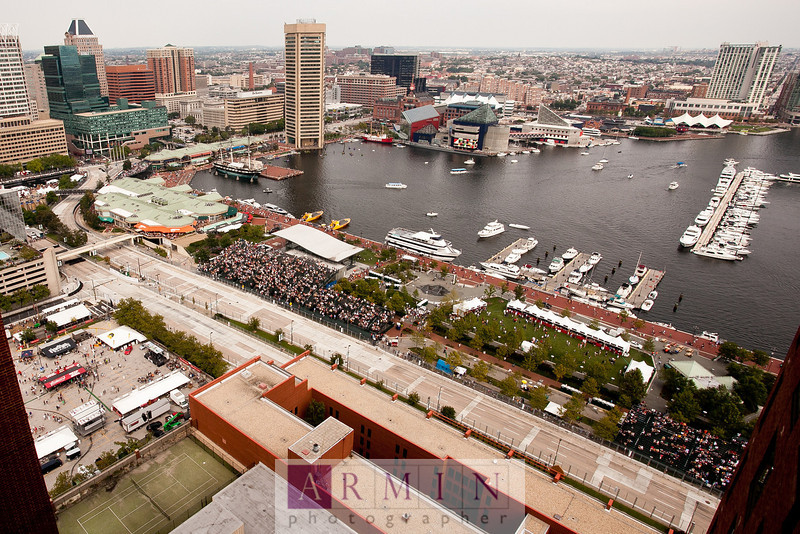 "A high view of the top of the Intercontinental Hotel and the Baltimore Inner Harbor. Read all about the Baltimore Grand Prix ALMS coverage on my blog –– <a href=""http://www.arminblog.com/?p=6327"">http://www.arminblog.com/?p=6327</a>"