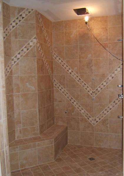 Bergonzi shower tile detail: during construction