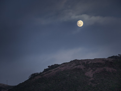 Moonrise over Rodeo Beach Hills