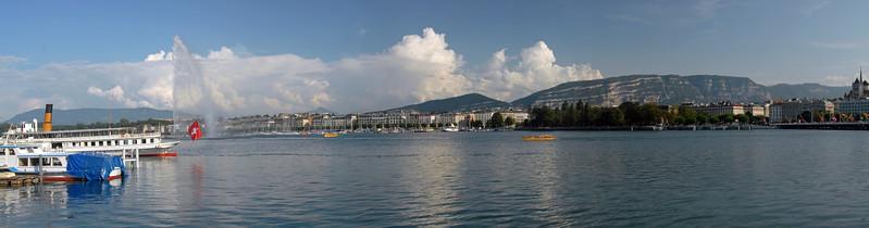 Panoramic view of Lake Geneva. Water fountain and the Simplon boat can be seen on Lake Geneva, Geneva, Switzerland.