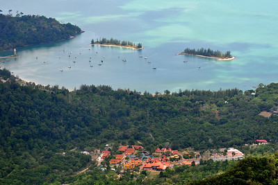 View of Langkawi from Mat Chinchang Hill reached by cable car from sea level. Malaysia.
