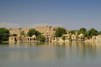 Jaisalmer Fort as seen from Gadi Sagar Lake in RJ, Rajasthan, India