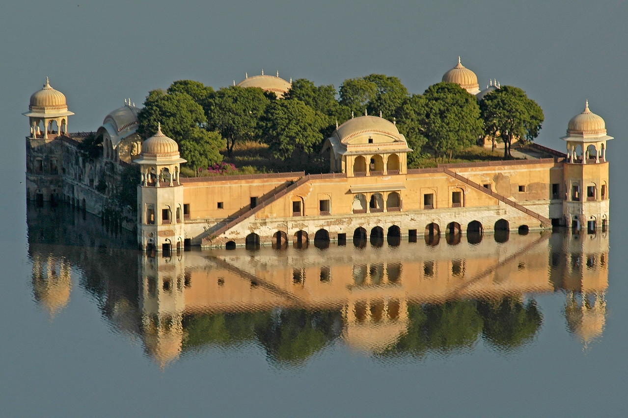 Water palace of the Maharajas of Jaipur as seen from Amer Fort, Jaipur, Rajasthan