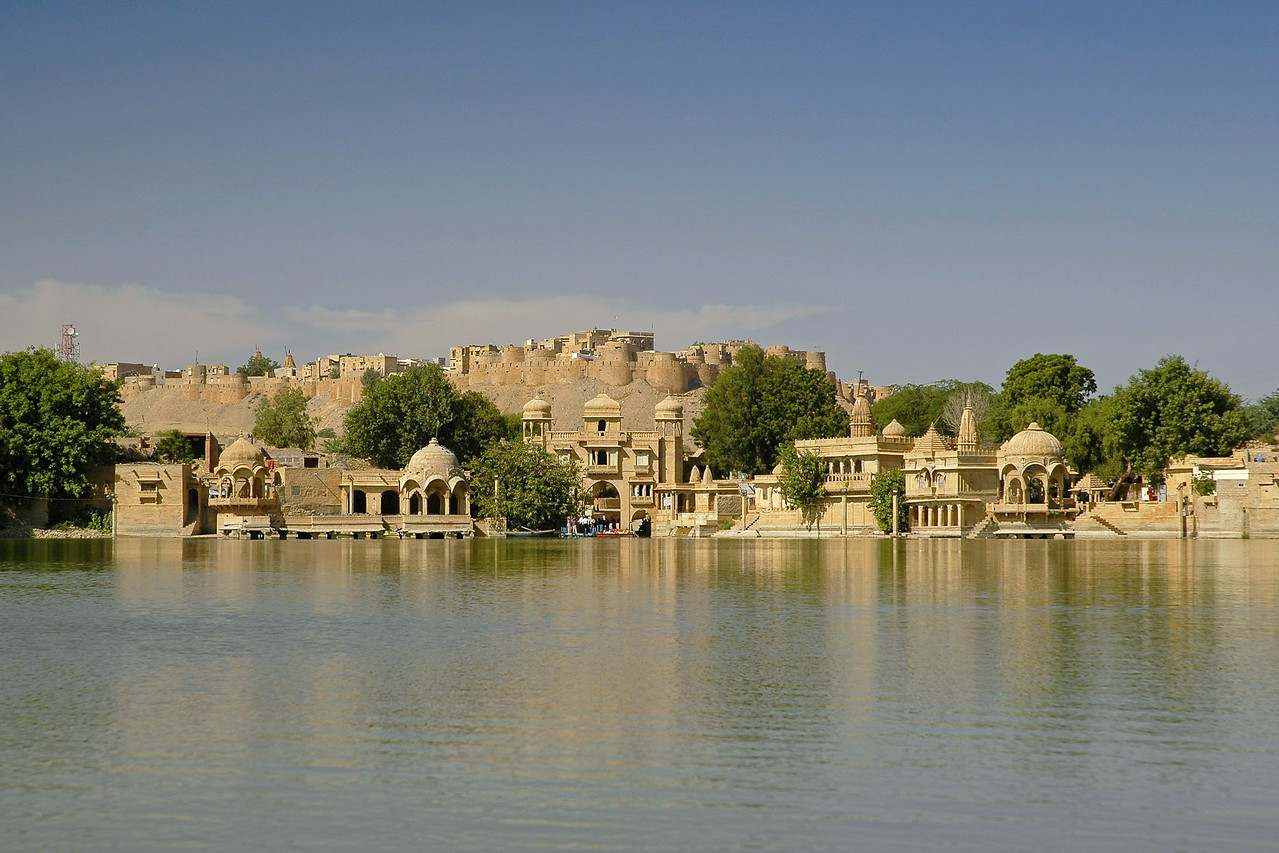 Jaisalmer Fort as seen from Gadi Sagar Lake in RJ, Rajasthan, India