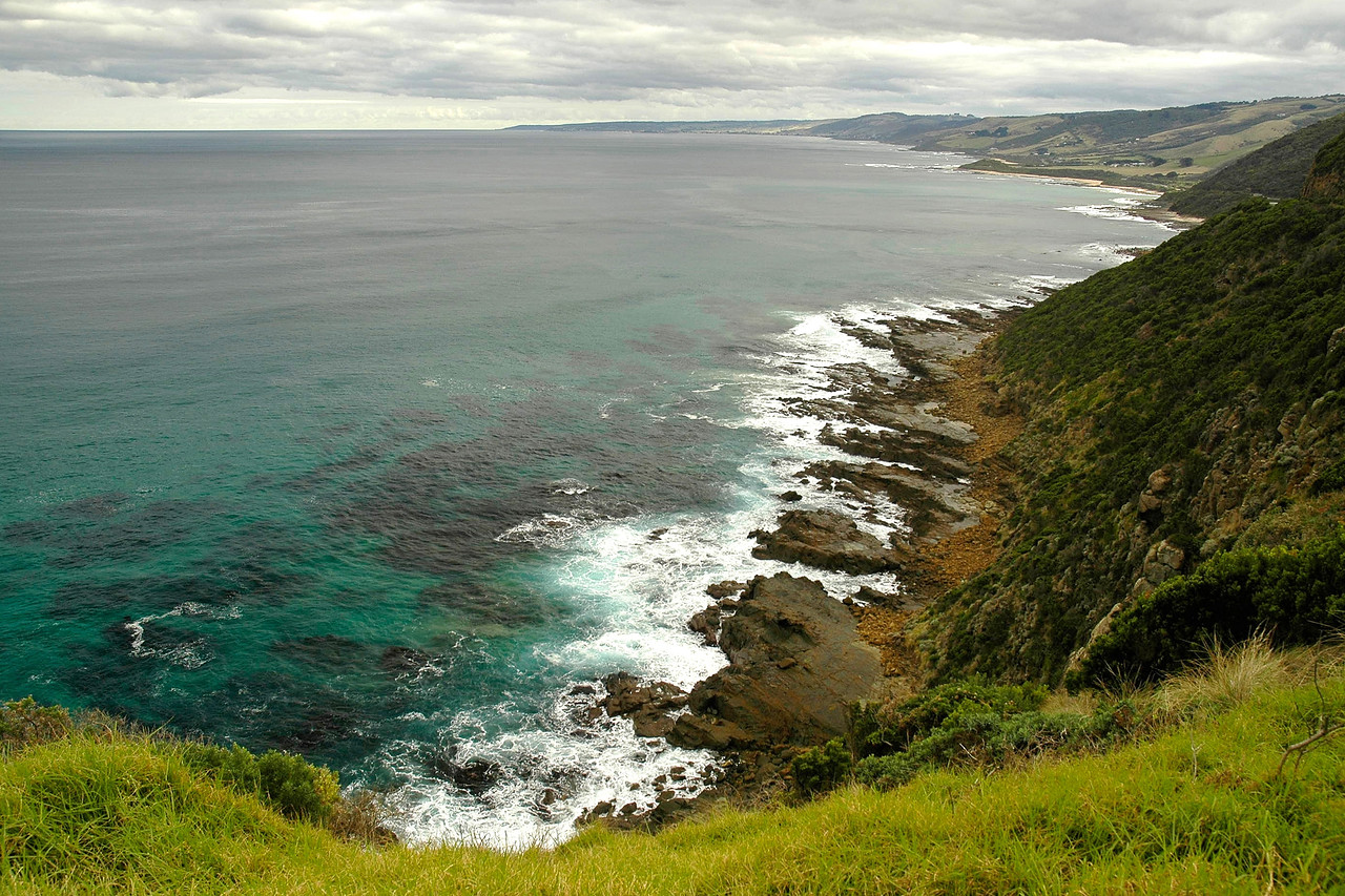 View of the sea and the ocean & mountains on The Great Ocean Road, Australia