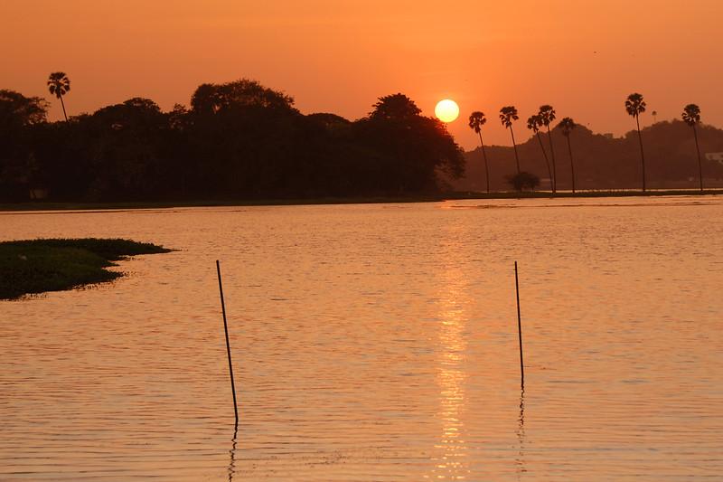Sunset over Powai Lake as seen from IIT, Mumbai (Bombay), MH, Maharashtra, India.