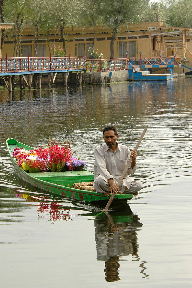 Flower vendor rowing his boat in Dal Lake, Srinagar, Kashmir, J&K, India.