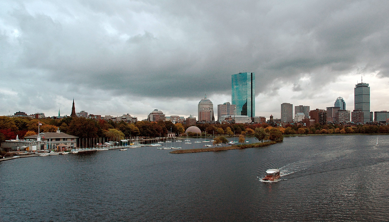 Boston river and Boston skyline. MA, USA