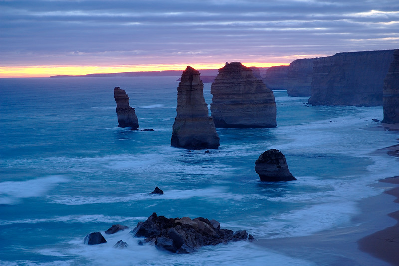 Twelve Apostles out of which only eight are left standing after the limestone structures fall with the battering of the ocean and sea waves. The Great Ocean Road, Australia