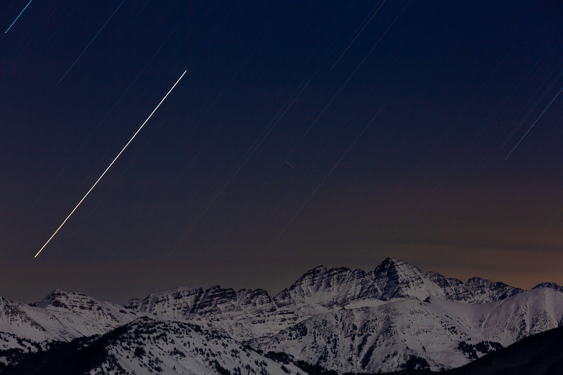 Star Trails over Maroon Bells Aspen Colorado