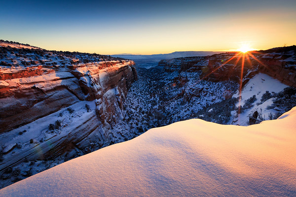Snowy Desert Canyon Sunrise Colorado