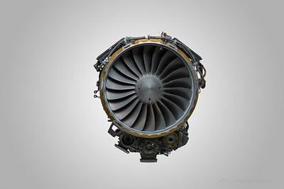 Business jet engine photographed on factory floor in Phoenix, Arizona.