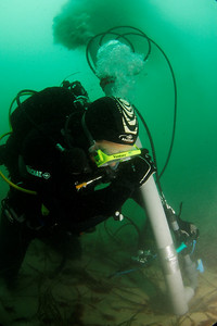 Diver with underwater dredge - sept 2011 , Roscoff, France