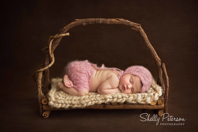 Woodland Bed on Plain Wood - Dusty Pink Color Palette<br /> For babies up to 2 weeks of age