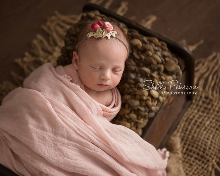 Stained Wood Crib on Plain Wood - Soft Pink Color Palette
