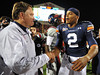 Oct 30, 2010; Oxford, MS, USA; Mississippi Rebels head coach Houston Nutt and Auburn Tigers quarterback Cam Newton (2) shake hands after a game at Vaught Hemmingway Stadium. The Tigers beat the Rebels 51-31. Mandatory credit: Don McPeak-US PRESSWIRE