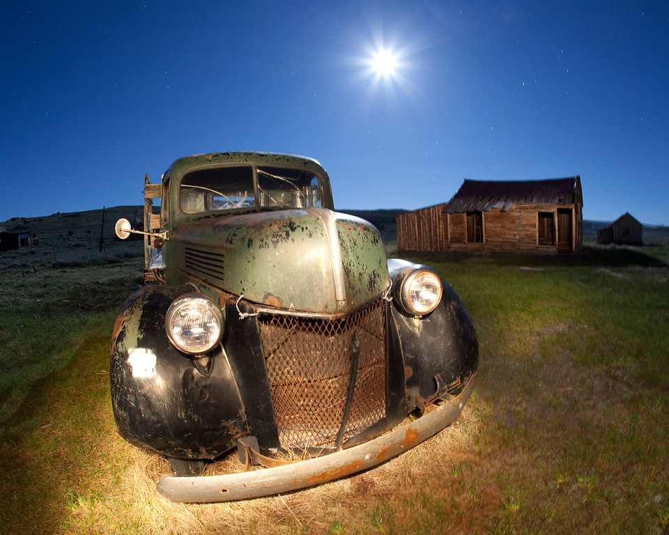 Moon rise over Bodie, Calif.