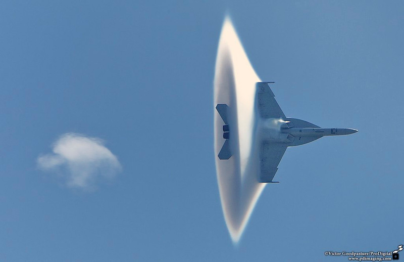 Entering the vortex. With high humidity and approaching the speed of sound, a vortex is created around supersonic aircraft.