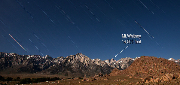 In July 2012, I reach the Mt.Whitney summit. The view at the top was mainly overcast but the trek along the way was tremendous. It was an exhausting adventure but worth it! This image is a 30-minute time lapse with the landscape illuminated by the moon.