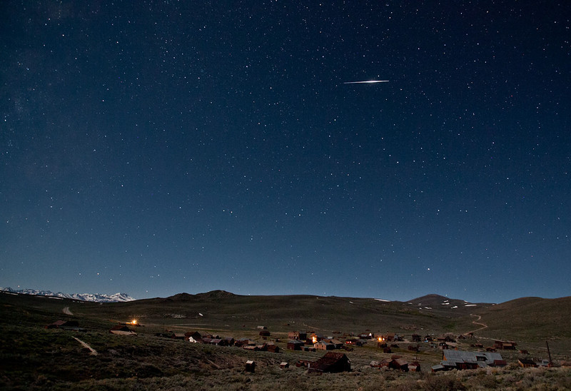 "A meteor over the historic ghost town of Bodie, Calif. How did I really capture this? I set the camera up for a time lapse and captured photos continuously dusk to dawn. Meteors are too fast to capture ""on the fly."" You shutter needs to be open before you even see the meteor. This was a 20-second exposure."