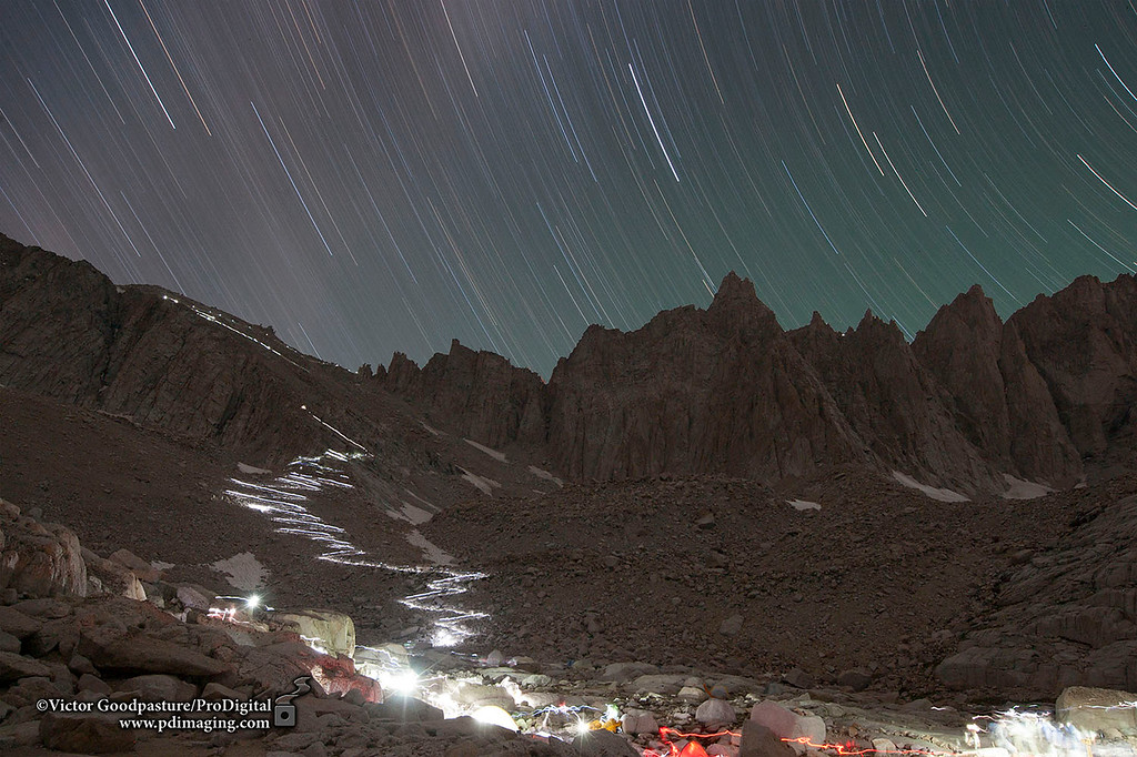 A 40 minute-exposure of the trail to Mt. Whitney. The lights are from hikers who leave before dark to make the summit by sunrise.