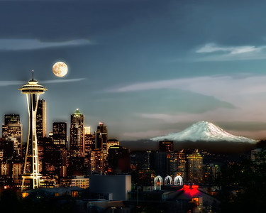 #559 Full Moon over Seattle