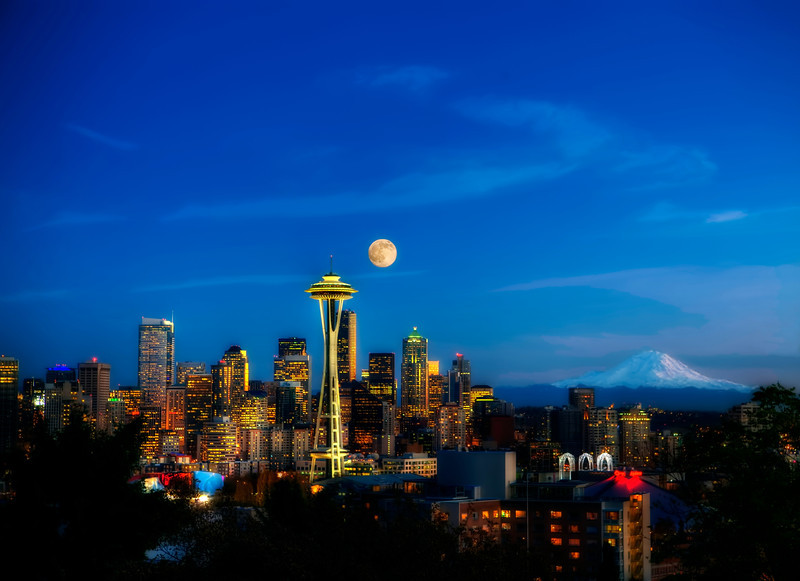 #112  Moon over Seattle, color, metal. View from Kerry Park