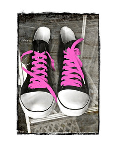 #285 Tennis Shoes with Pink Laces