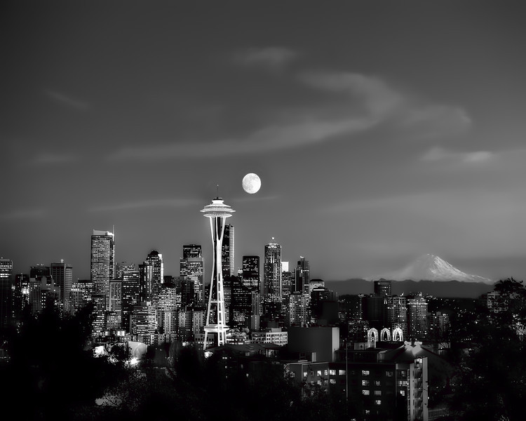 #207 Full Moon over Seattle