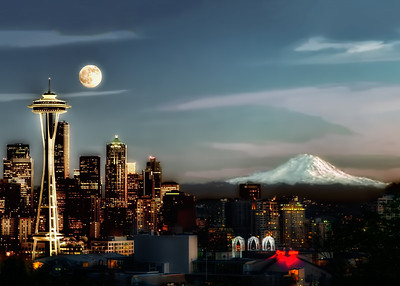 #558 Moon Over Seattle