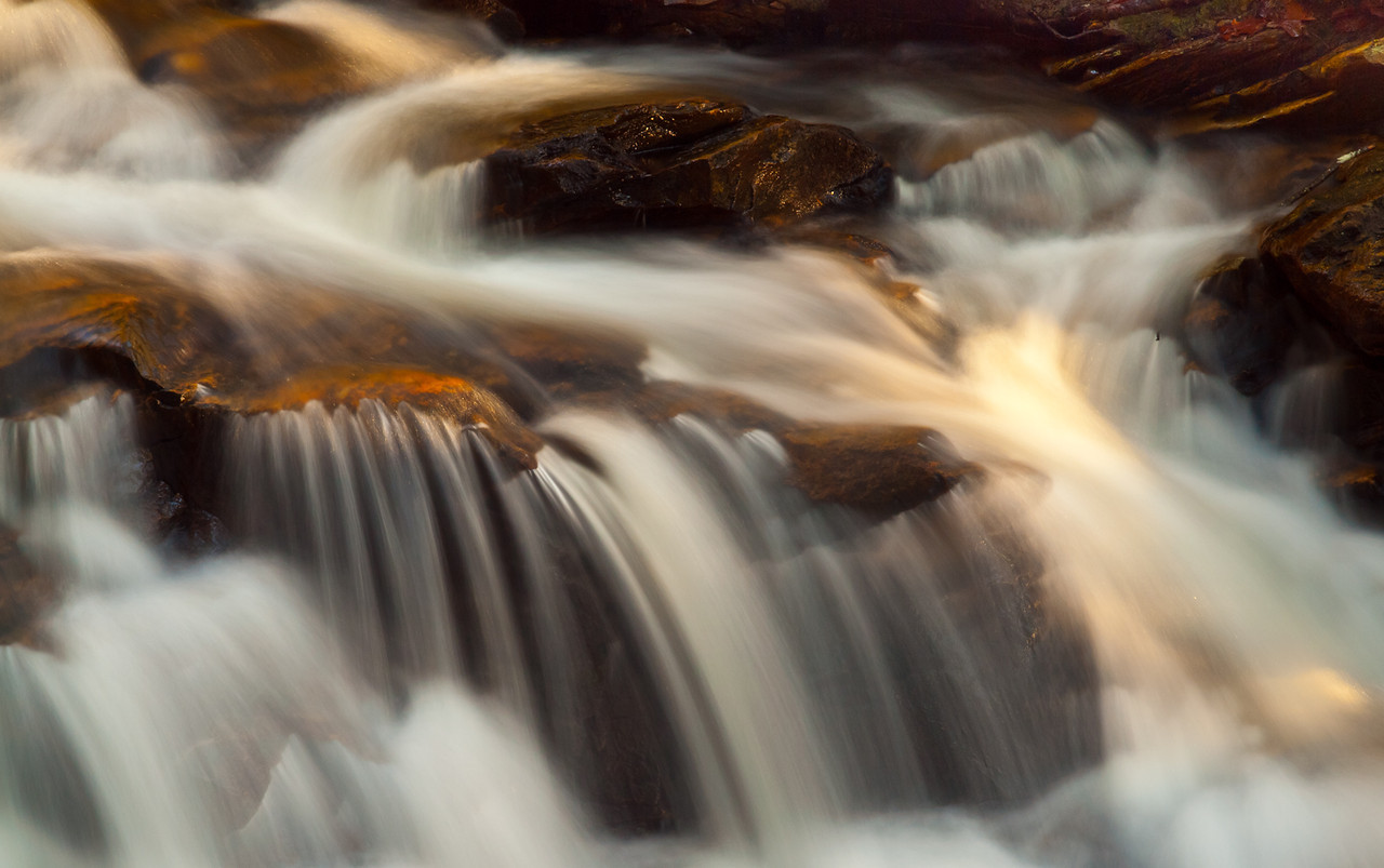 Morning light on a detail of Senter falls.