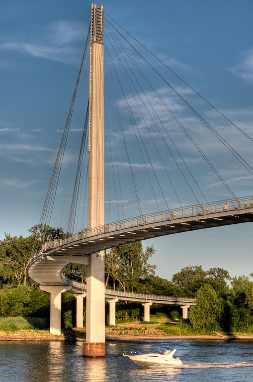 Bob Kerrey Pedestrian Bridge, a 3,000 ft footbridge across the Missouri River between Council Bluffs, Iowa and Omaha, Nebraska.