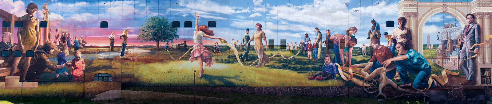 Mural on the side of a building in downtown Omaha.  This is a panorama consisting of 12 individual shots combined in Photoshop.