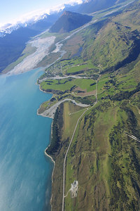 Aerial from New Zealand, the town of Glenorchy