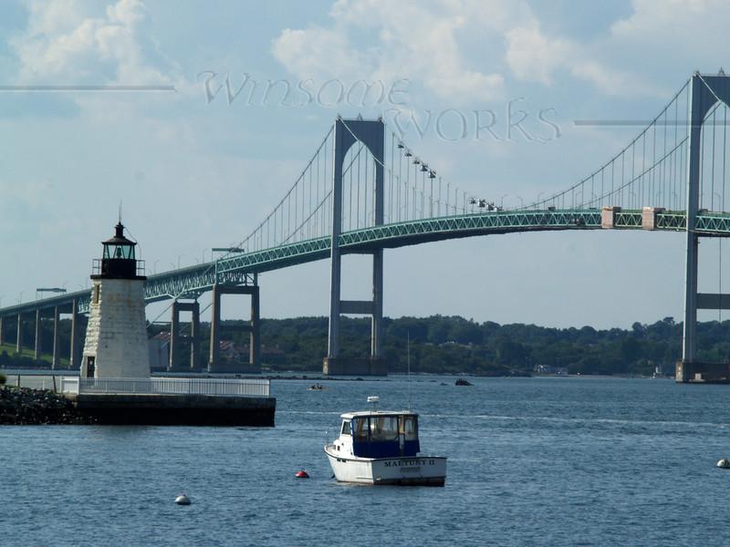 Goat Island Light (Newport Harbor Light) with Claiborne Pell or Newport Bridge
